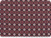 Mousseline, viscose print, ornaments, red-navy, 140cm