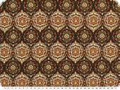 Mousseline, viscose print, ornaments, brown, 140cm