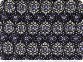 Mousseline, viscose print, ornaments, blue, 140cm