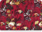 Viscose jersey, flowers, raspberry-multicolour, 150cm