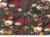 Viscose jersey, flowers, dark grey-multicolour, 150cm