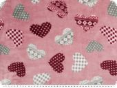 Superfleece, hearts, rose pink, 150m