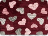 Superfleece, hearts, red, 150m