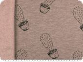 Sweatshirt fabric, cacti, antique pink-black, 150cm