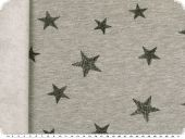 Sweatshirt fabric, stars, grey-black, 150cm