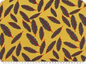 Mousseline, viscose print, feathers, yellow-grey, 140cm