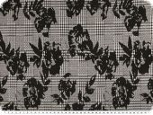 Knit fabric, jacquard, roses, black and white, 150cm