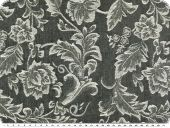 Stretch jacquard jeansfabric, flowers, dark blue-ecru, 135cm