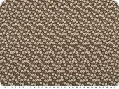 Cotton poplin, small flowers, digital print, brown, 150cm