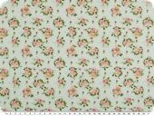 Popolin digital print, roses, light green-rose pink, 150cm