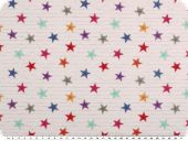 Digital cotton print, small stars, white-multicolour, 150cm