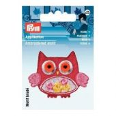 Embroidered motif, owl, multicolour, for ironing on
