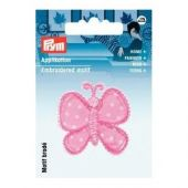 Embroidered motif, butterfly, pink-white, for ironing on