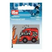 Embroidered motif, patch fire engine, for ironing on