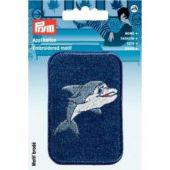 Embroidered motif, patch dolphin, blue-white