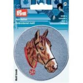 Embroidered motif, horse's head, light blue-brown