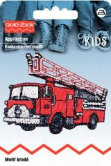 Embroidered motif, fire engine, for ironing on