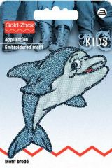 Embroidered motif, dolphin, blue-grey