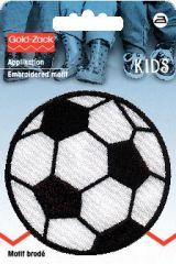 Embroidered motif, football, large, black-white, for ironing