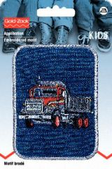 Embroidered motif, truck, blue-red, for ironing on