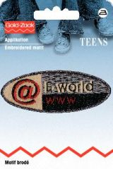 Embroidered motif, E-world, oval, for ironing on