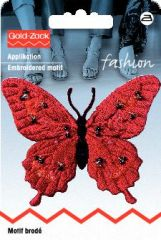 Butterfly exclusive red with pearls, for ironing on