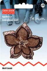 Embroidered motif, flower, organza, brown, for ironing on