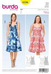 Burda Pattern, strap dress with high waist, size: 32-44