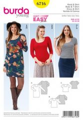 Burda Pattern, dress & t-shirt, size: 42-52