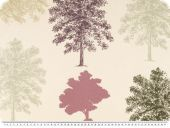 BIO cotton fabric, trees, ecru-violet, 165cm