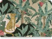 Half panama deco fabric, digital print, palms and leopard
