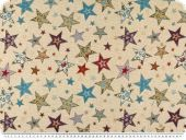 Jacquard upholstery deco fabric, stars, multicolour, 140cm
