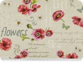 Deco fabric , poppies, linen-red, 140cm