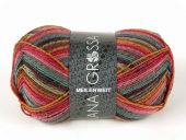 Trendy sock- knitting yarn, red-pink-lilac, 100g/380 m