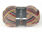 Trendy sock- knitting yarn, red-green-grey, 100g/380 m