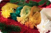 Organza gift sachet, 3-pack, colour: fir green