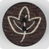 fashion button, leaf, 23mm, dark brown