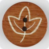 fashion button, leaf, 28mm, brown