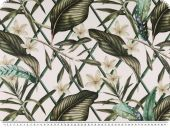 Half panama deco fabric, digital print, flowers and bamboo