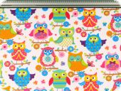 Nice deco fabric,owls, multicolour, 160cm
