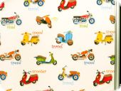 Fancy deco fabric , motorcycles, multicolour. 280cm