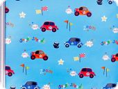 Fancy deco fabric , cars, light blue-red. 280cm