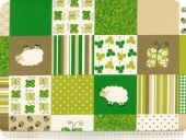 Highquality deco fabric, squares, green-brown, 140cm