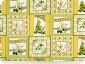 Decoration fabric, olives and squares, multicolour, 160cm