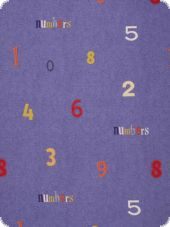 Fancy deco fabric, numbers, multicolour, 280cm high