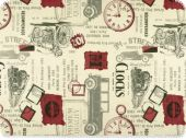 Deco fabric, clocks and cars, multicolour, 140cm