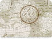 Deco fabric, world map, beige, 140cm