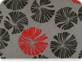 Leftover, Deco fabric, flowers, grey-black-red, 400x140cm