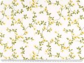 Decoration fabric, satin, flowers, ecru-multicolor, 140cm