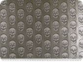 Fake leather decoration fabric, skulls, grey, 140cm